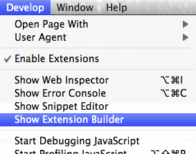Safari Show Extension Builder